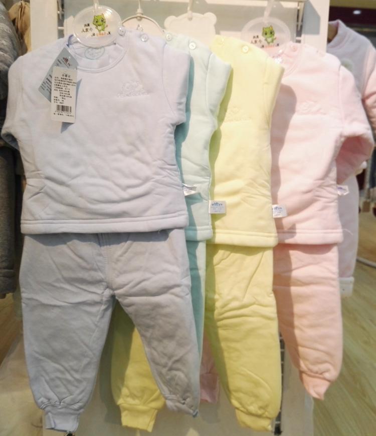 儿童夹棉保暖内衣套装婴儿南极棉纯棉加厚秋冬天男女宝宝肩扣棉袄