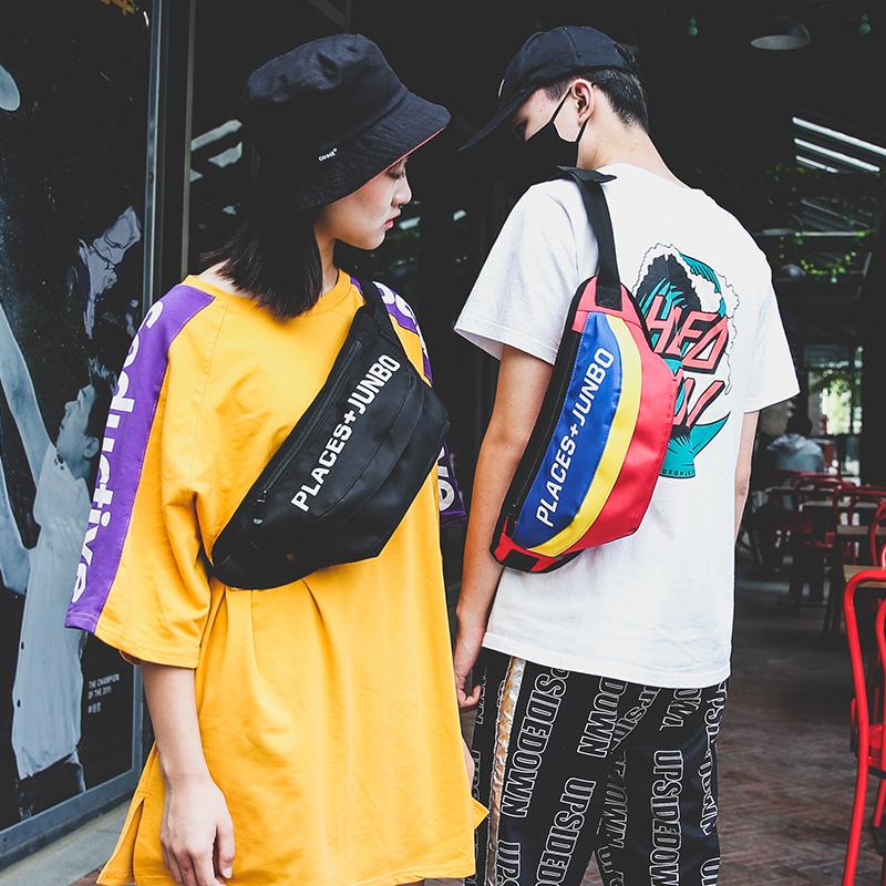韩版潮牌腰包男多功能胸包女个性时尚土酷包蹦迪嘻哈单肩斜挎小包
