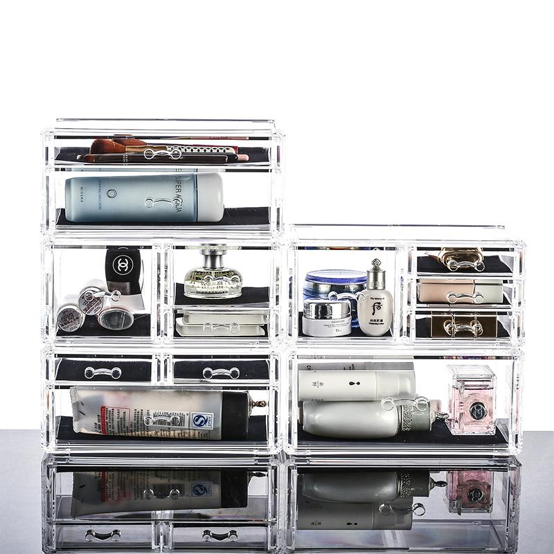 小腻腻推荐透明化妆盒 首饰盒 收纳盒 亚克力抽屉式桌面 彩妆盒