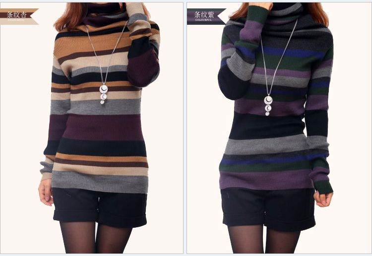 2020 Chuanyang meihui shoulder sweater womens pile neck stripe slim fit high Pullover womens bottom sweater