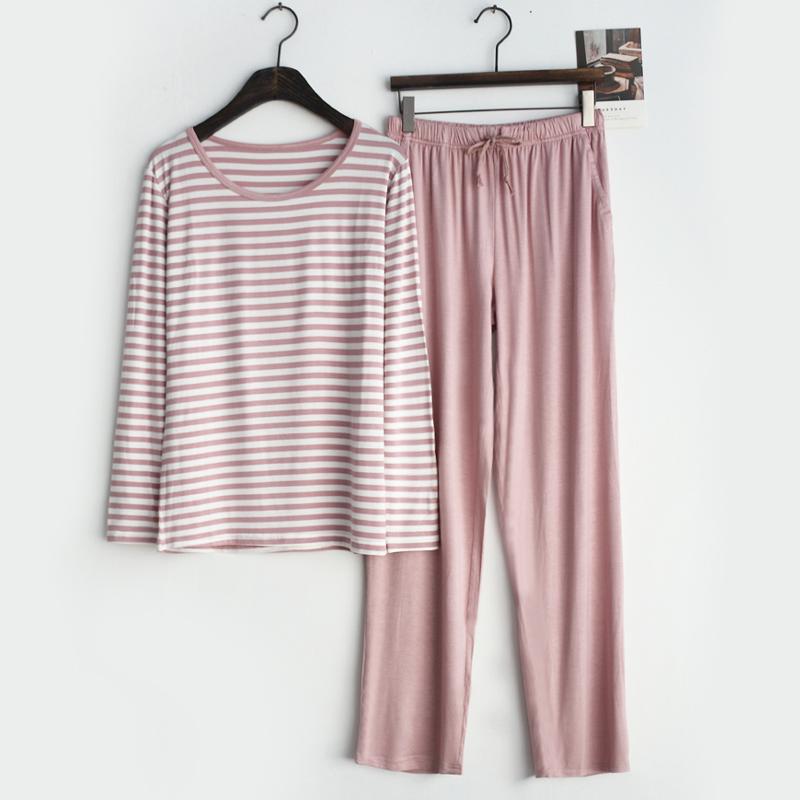 简约条纹短袖长裤七分裤夏季睡衣55.00元包邮