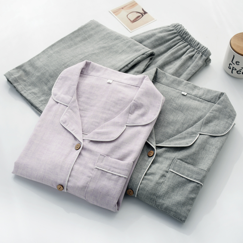 券后79.00元日式开衫男春秋季夏纯棉纱布睡衣