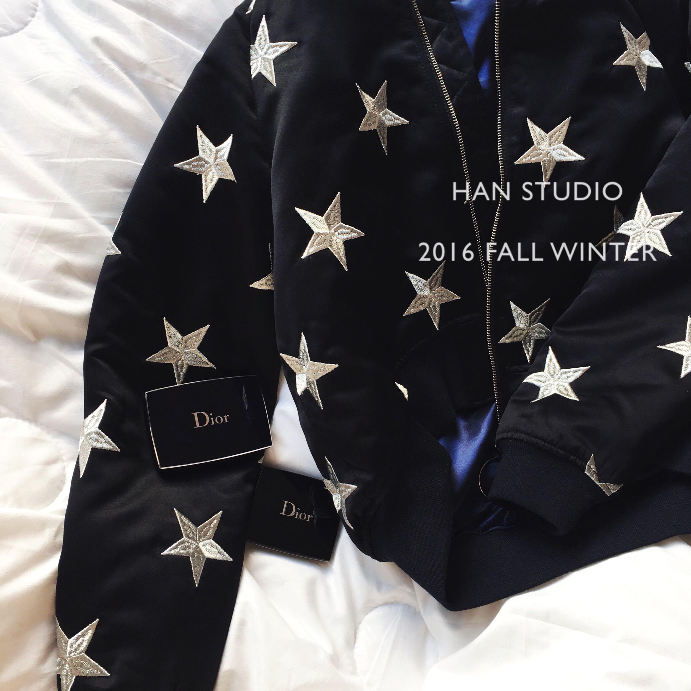HAN STUDIO 吃土也自留的星星刺绣棉衣 短款棉服棒球服外套