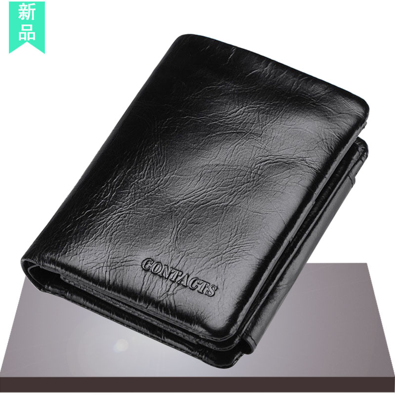 Three fold Wallet mens short large capacity 2020 new mens business simple leather leather vertical wallet wallet