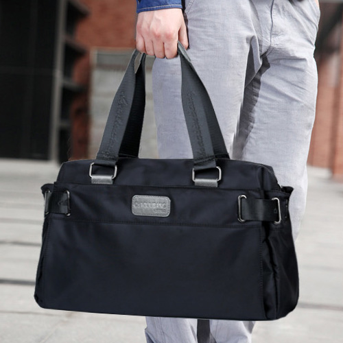 尼龙帆布韩版男包休闲商务旅行包潮男士单肩包手提斜挎包大包横款图片