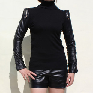 Europe station Cheap leather sheep skin leather sleeve shirt sleeves shirt sleeve dermal skin sleeve knit shirt female