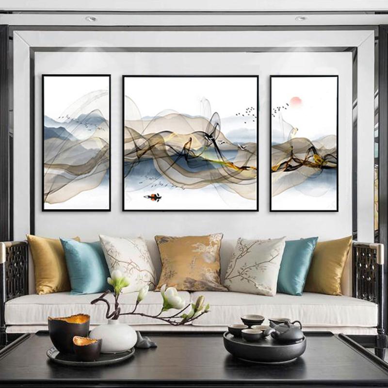 客厅三联装饰画沙发背景墙挂画办公室禅意山水新中式招财风水壁画