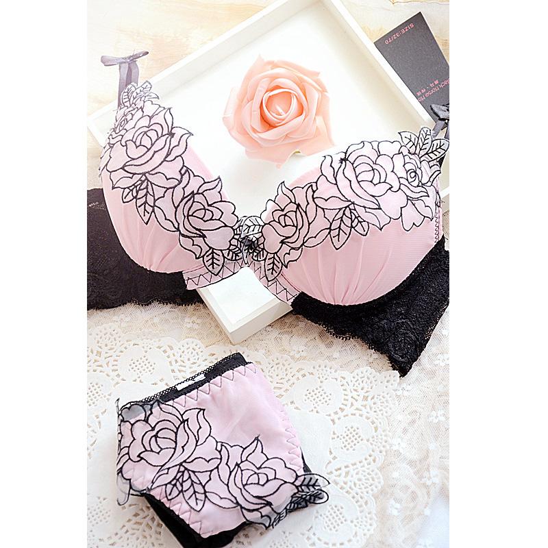 Глубокий v сексуальный сладкий японский вышивки и регулируемые за тремя рядами кружева нижнее белье бюстгальтер девушки молока набор