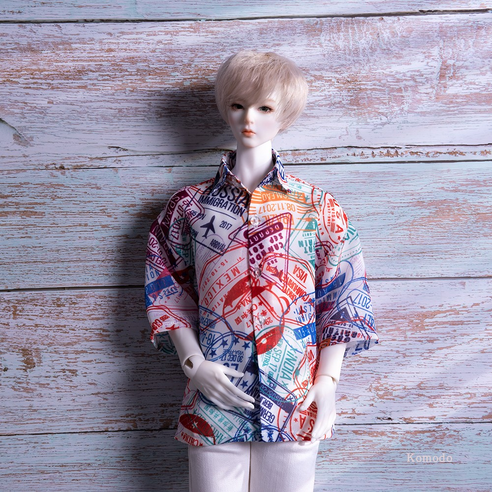 Komodo new BJD baby dress casual flower shirt holiday top 3 / 4 doll shirt short sleeve