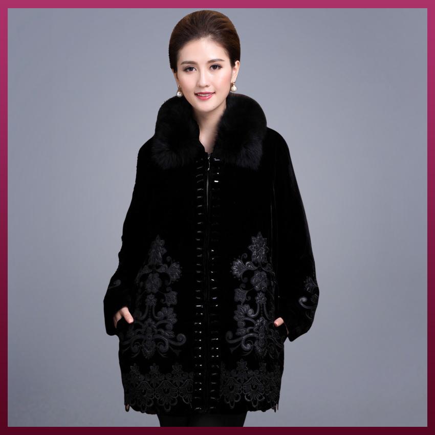 高档狐狸毛领桑蚕丝棉衣中年女装冬装中老年真丝绒外套中长款大码