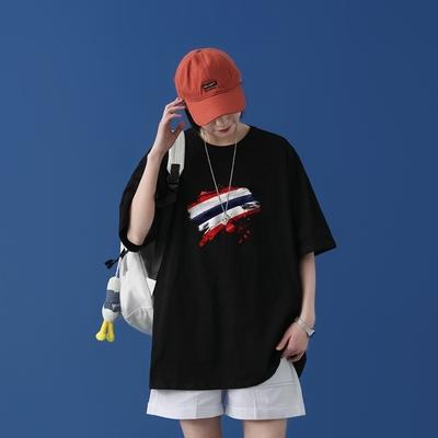 T1686P25 / 2021新款国潮嘻哈印花T恤男潮牌宽松百搭T 蓝墙中性