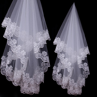 Wholesale studio long veil bridal veil lace bridal veil single 3 m 2 m white veil TS8