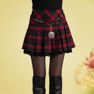 Xin bamboo reported three spring and autumn wild red plaid skirt skirts skirt autumn and winter female skirt pleated skirt big yards