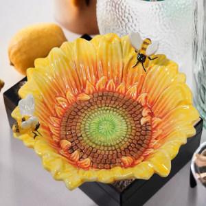 美式田园太阳花造型烟灰缸向日葵陶瓷装饰小碗茶几摆设钥匙收纳碗