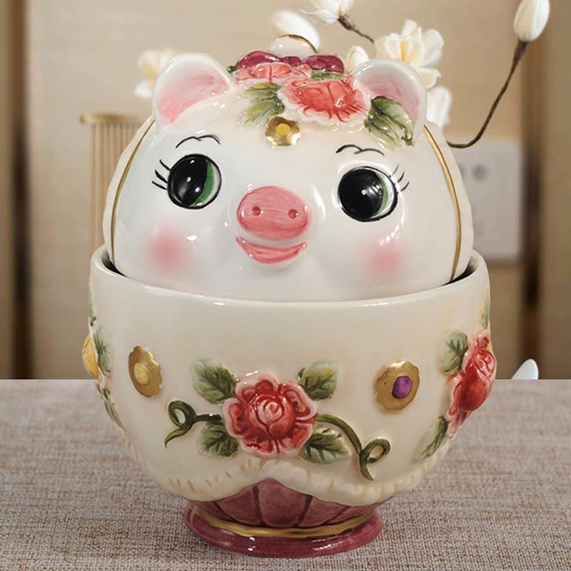 维多利亚陶瓷猪猪咖啡杯特色粉色小猪对杯精致礼品高档家居情侣杯
