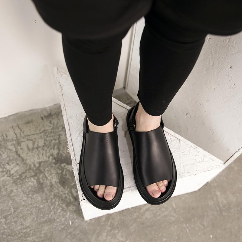真皮凉鞋男潮沙滩鞋韩版罗马凉鞋系带防滑透气休闲鞋 CY06-3