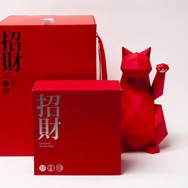 青红皂白北欧红色几何招财猫创意新年美容院装饰车载摆件开张礼物图片