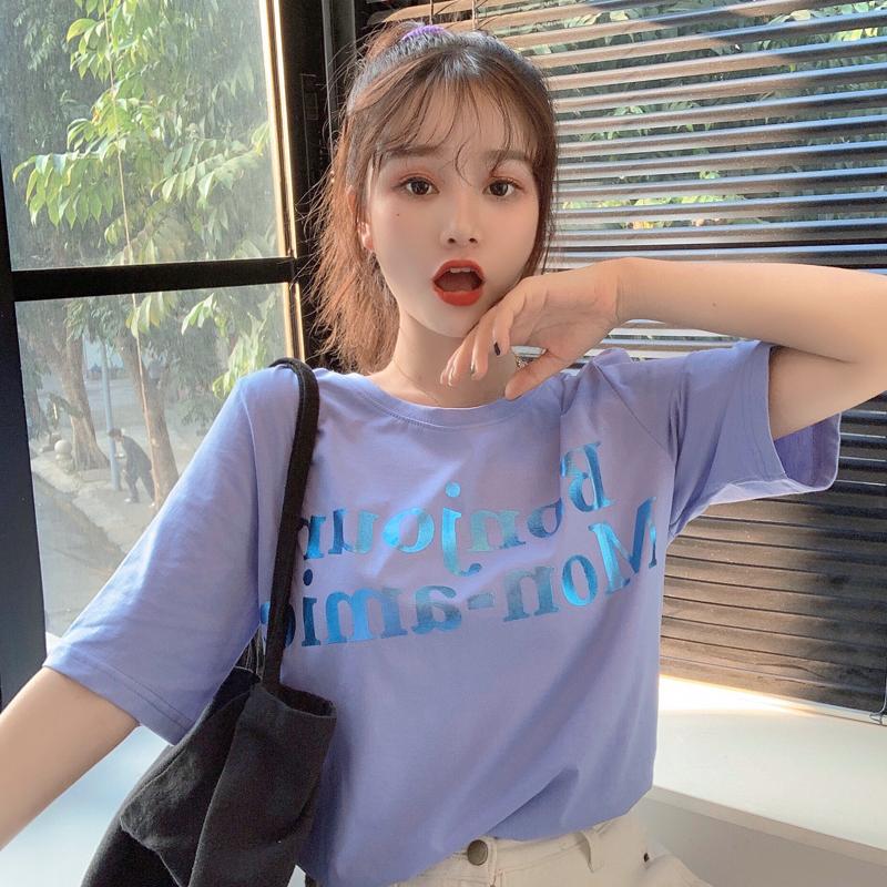 实拍特价韩版字母短袖t恤女印花宽松百搭T