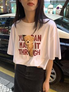 官图 2021新款韩版休闲宽松百搭上衣小熊印花短袖t恤女,女装T恤,韩后网络
