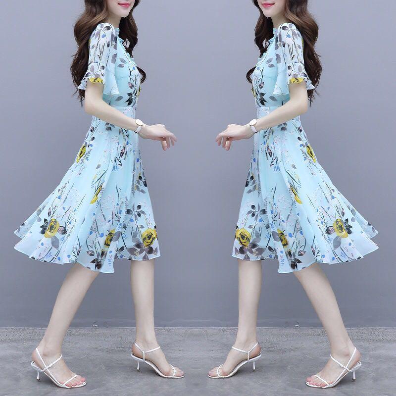 碎花冰絲連衣裙流行女裝2020夏天新款氣質高端很仙的夏款仙女裙子