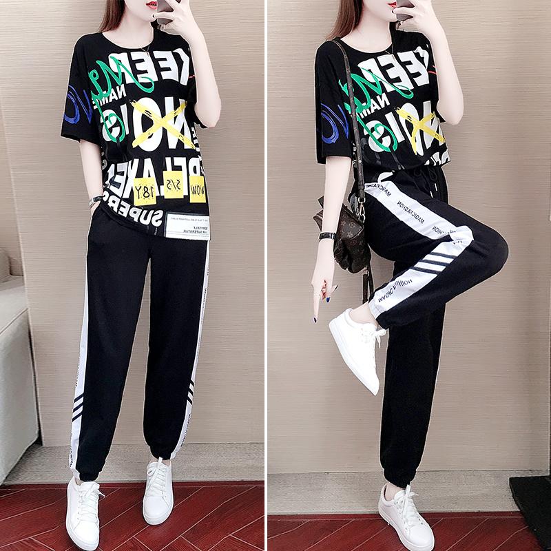 套装女夏2020新款宽松韩版休闲运动服洋气显瘦裤子两件套学生