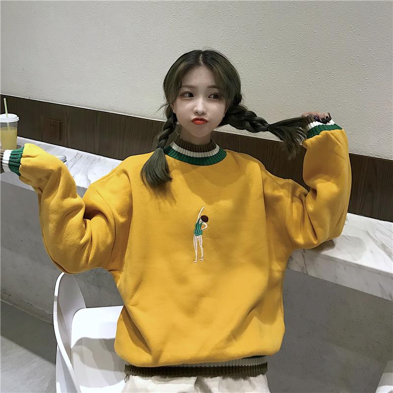 秋冬韩版学院风卡通刺绣长袖chic拼色套头ins卫衣