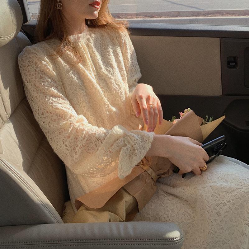 郭郭定制裙子女秋冬连衣裙长袖时尚减龄长裙修身显瘦气质蕾丝裙