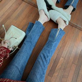 郭郭定制牛仔裤女春夏新款直筒裤高腰显瘦九分裤小脚裤开叉小个子