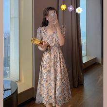 郭郭定制法式高腰连衣裙2020新款夏收腰显瘦气质碎花裙女神范裙子
