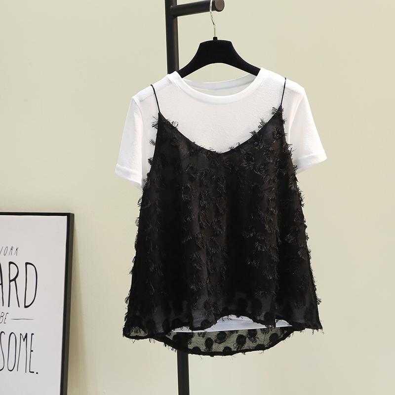 短袖棉麻吊带两件套娃娃衫女2019夏新韩范黑白流苏蕾丝衫宽松上衣