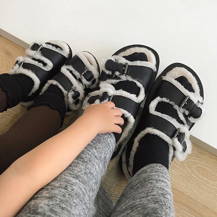 辰辰妈冬季新款网红同款宝宝毛毛凉鞋1-3岁儿童女童公主鞋子