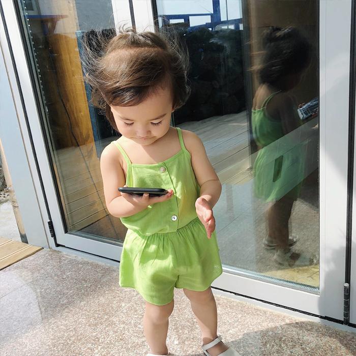 辰辰妈婴童装儿童夏装女童吊带背心百搭婴儿宝宝竹节麻棉吊带上衣