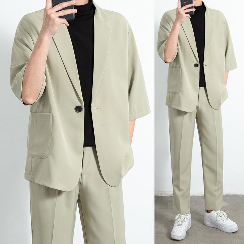 XF55宽松轻熟风纯色跨肩七分袖休闲西装套装单西P95-C204套装P150
