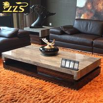 天然灰洞石大理石茶几电视柜可组合简约现代家具欧式小户型石茶桌