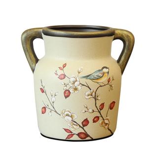 美式餐桌裝飾花瓶 歐式復古雙耳花瓶花藝 新中式茶几陶瓷花瓶擺件