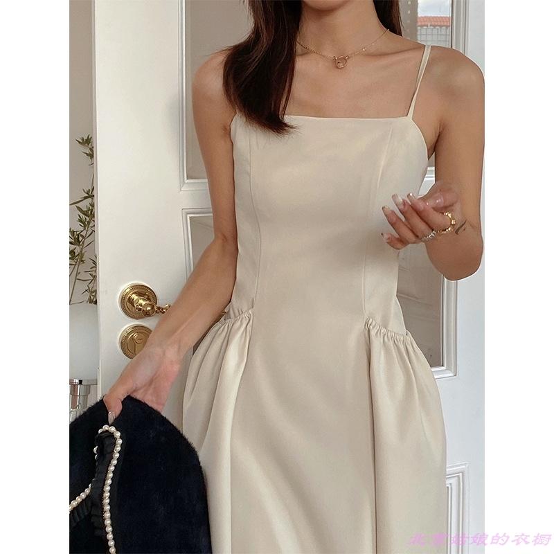 吊带高腰休闲韩版女装新款秋气质显瘦口袋连衣裙冬季