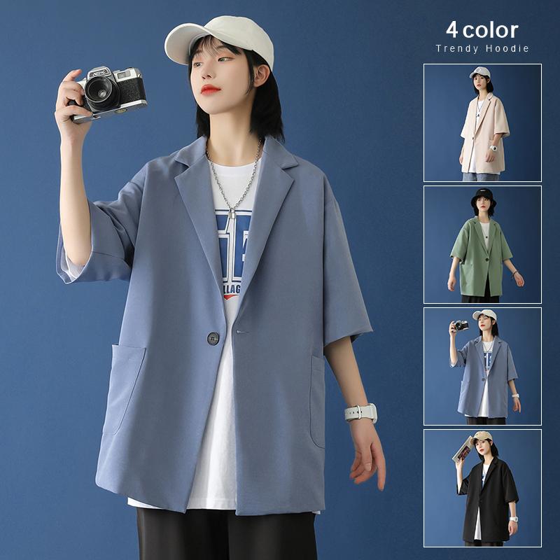 中性 炸街短袖小西装男女西服上衣单件宽松帅气休闲外套F900-P75