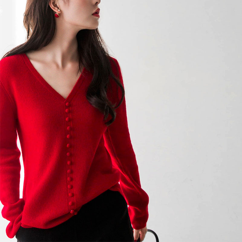 Autumn and winter womens sweater fashion Korean loose knit long sleeve Pullover Sweater womens bottoming sweater