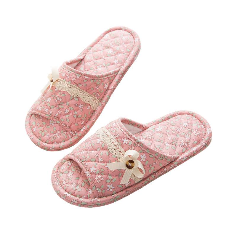 布艺布底拖鞋男女夏四季春秋冬家居室内不伤木地板静音软底棉拖鞋