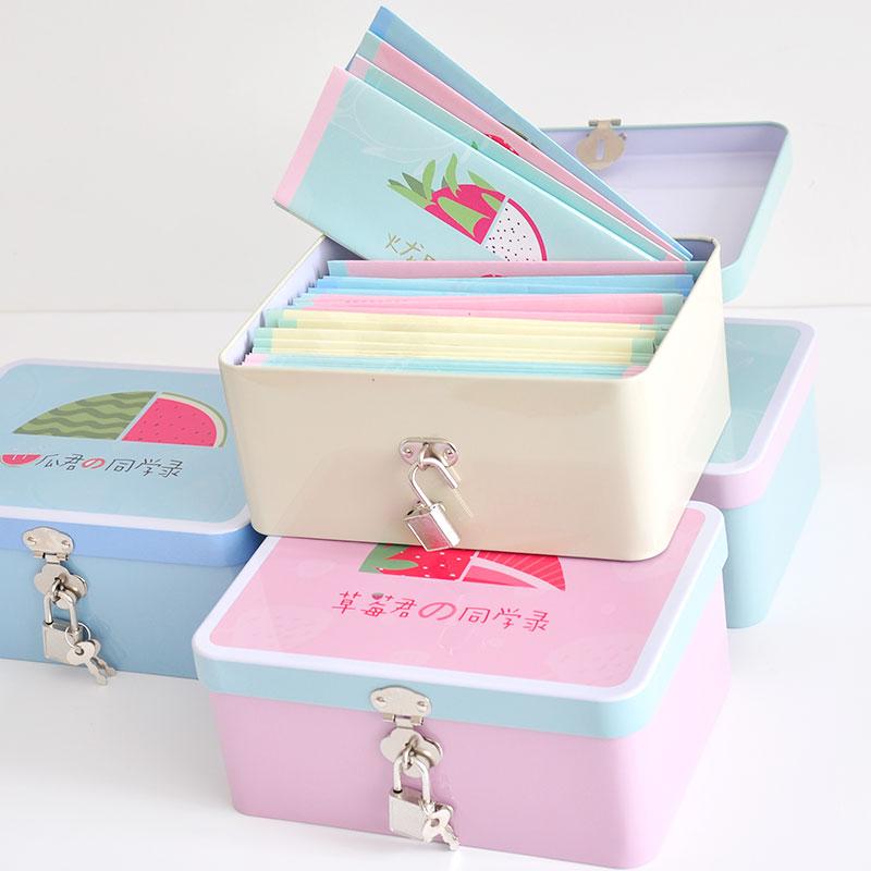 韩国创意清新唯美铁盒装水果开窗同学录初中小学毕业留言纪念册