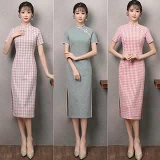 Эластичные из cheongsam тонкий новый ретро сетка льняная ткань cheongsam люди национальные обычаи темперамент дамы платье изменение, цена 1160 руб