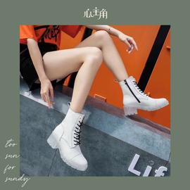 2020年秋季新款马丁靴女士中筒短靴真皮拉链款白色帅气靴子女