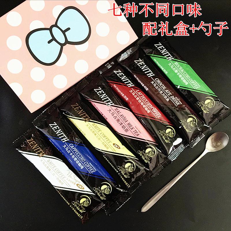 马来西亚大马占咖啡奶茶巧克力饮品组合7条225g(含礼盒咖啡勺)
