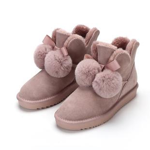可爱毛球短筒蝴蝶结2019新款短靴