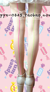 Japanese Harajuku end of a single fluorescent yellow gold powder can be worn around the vertical zipper pantyhose stockings