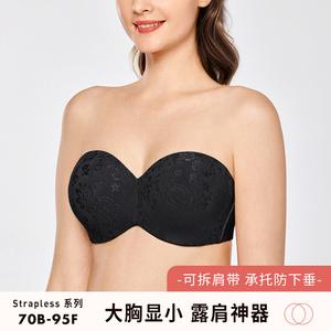 無肩帶bra防滑薄款大胸顯小文胸隱形內衣婚紗用大碼新娘胸貼超薄