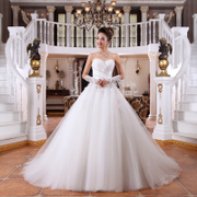 New bride wedding dress new 2015 slimmer size tail with purple straps wedding dress Korean version-