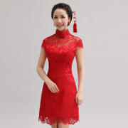 Modified fashion 2015 new red lace cheongsam bride wedding toast clothing spring/summer short MIDI-