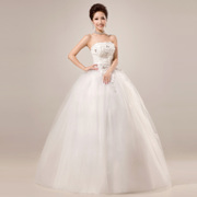 New wedding dress-Korean style lace, sequin lace tube top with straps Princess wedding dress new style out of yarn