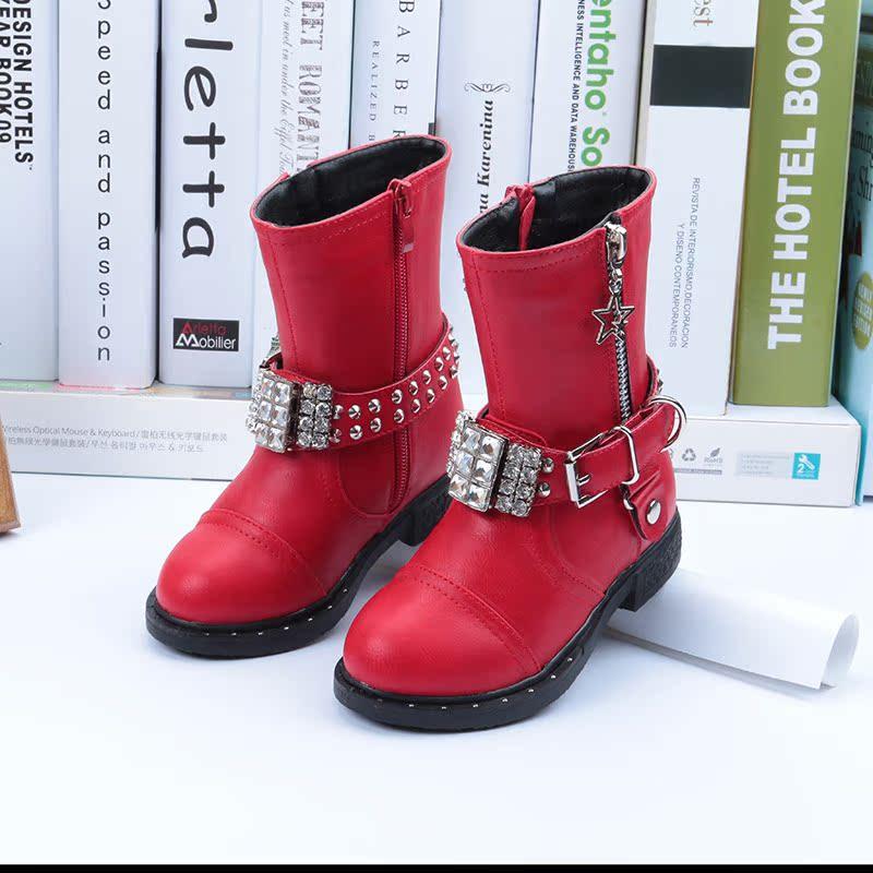 2016 зима новый стиль обувь для девочек и ватки выстроились сапоги теплые ботинки обувь ребенка девушки в корейской версии загрузки